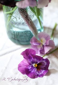 Pansies & blue mason jar