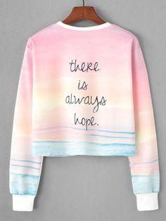Watercolor Slogan Print Crop Sweatshirt -SheIn(Sheinside)