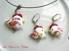 OMG I love these Mokume Gane Chicken Beads by Les Bijoux de Nadege!