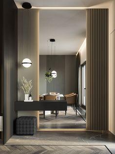 Home Decor Eclectic Dark hallway-Dark hallway Dark interior in modern style. Interior Design Minimalist, Contemporary Interior Design, Office Interior Design, Modern Interior Design, Interior Architecture, Interior Sketch, Classical Architecture, Modern Minimalist, Modern Furniture Design
