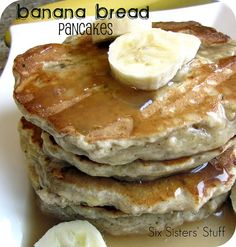 Banana Bread Pancakes Recipe:  makes 12 pancakes    2 cups whole wheat pastry flour (I've used all purpose flour before and it works just fine!)  2 teaspoons baking powder  1/4 teaspoon salt  1/4 cup brown sugar  1 teaspoon cinnamon  1/4 teaspoon nutmeg  2/3 cup milk  1 tablespoon vanilla extract  3 large ripe bananas, mashed  2 tablespoons butter, melted