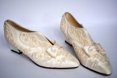 ivory lace silk shoes