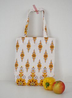 Tote bag made from vintage fabric. Forget plastic bags, take this cutie shopping!