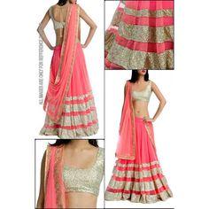 Bollywood Cream and Pink Net Lehenga Choli