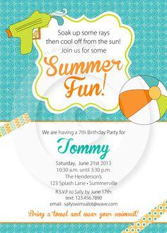 Adorable Birthday or Pool Party Invitation. #summer #poolparty #watergun #squirtgun #beachball #washitape #birthdayparty #invitation