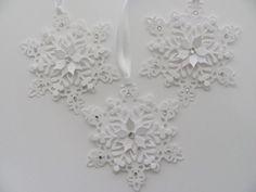Snowflake Gift Tags, Snowflake Ornaments, White Snowflake Tags, Christmas Gift…