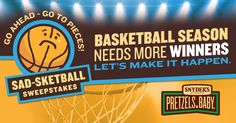 Enter @ http://www.winpieces.com for Snyders of Hanover's Pretzel Pieces Sad-sketball Sweeps #giveaway 200 winners daily & $10,000 top prize!
