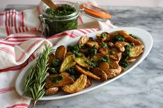 Roasted Potatoes with Kale Pesto | Jessica's Dinner Party