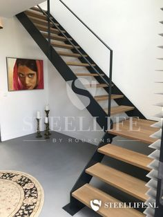 Steel Life does rank as steel doors with glass swing doors, insulated steel exterior window frames, steel exterior doors, and steel stairs and railings! Steel Stairs Design, Home Stairs Design, Interior Stairs, Home Design Plans, House Design, House Staircase, Loft Stairs, Narrow Staircase, Brick Patterns Patio