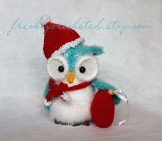Crochet Christmas Sacks | Crocheted Christmas owl with sack | My Red and Turquoise Christmas Pa ...