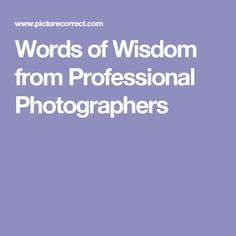 Words of Wisdom from Professional Photographers