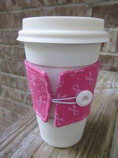 Breast Cancer Awareness DIY coffee sleeve