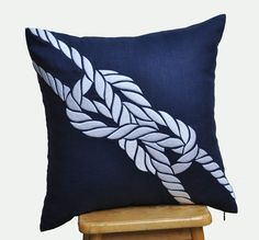 Pillow Cover, Decorative Pillow Cover, Navy Blue Linen Pillow, White Rope, Embroidered, Nautical Cushion, Couch Pillow, Coastal Decor