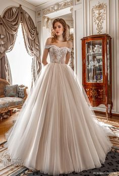 """Aurora Couture 2019 Wedding Dresses — """"Russian Glory"""" Bridal Collection aurora couture 2019 bridal off the shoulder sweetheart neckline heavily embellished bodice romantic a line wedding dress mid back chapel train mv — Aurora Couture 2019 Wedding Dresses Wedding Dress Styles, Designer Wedding Dresses, Bridal Dresses, Wedding Corset, Wedding Gowns, Glamour, Flowy Gown, Disney Princess Dresses, Bridal Collection"""