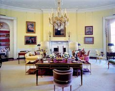 View of the Yellow Oval Room in the Kennedy White House, Washington, D.C, May 7, 1962.