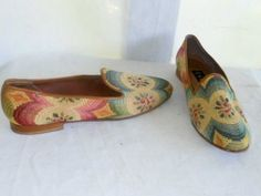 Vintage Zalo Shoes Slip Ons Flats Needlepoint Effect Flower Print Loafers 8.5N