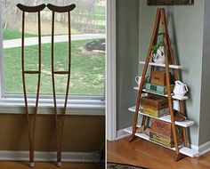 Repurpose item of the day: old crutches! Turn those into a shelving unit!ook