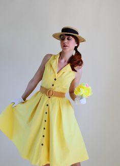 Bright Yellow Summer Dress Mad Men Fashion Weddings by gogovintage, $44.00