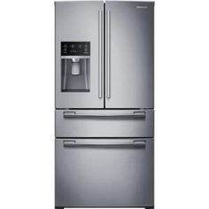 Samsung, 33 in. W 24.73 cu. ft. 4-Door French Door Refrigerator in Stainless Steel, RF25HMEDBSR at The Home Depot - Mobile