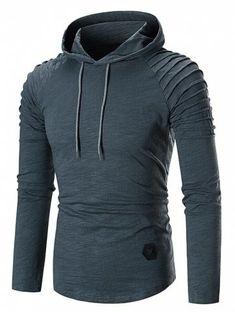 Pleated Raglan Sleeve Hem Curved Hooded T-shirt - Cadetblue - 3783660712 - Men's Clothing, Men's Tops & T-Shirts, Men's T-Shirts # # Mens Clothing Styles, Men's Clothing, Superman Shirt, Novelty Shirts, Cheap Hoodies, Men Design, Fleece Hoodie, Mens Sweatshirts, Cool Shirts