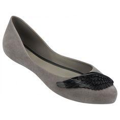 Mel Dreamed by Melissa |Dreaming Wing Grey Flat Ballerinas | www.melshoes.com