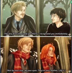 """punkeduppirate """"You know, the very first time I saw you Harry, I recognize you immediately. Not by your scar, by your eyes. They're your mother, Lily's."""" -Remus Lupin"""