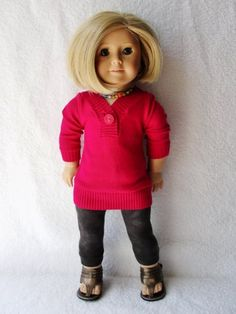 Raspberry Sweater, Black Leggings & Bronze Sandals - (45) Separates