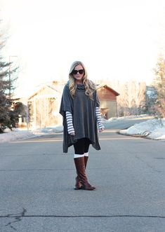I love a poncho or cape! And I need to try this look with the knee socks peeping over the top of the flat boot.