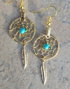 Earrings Gold with Turquoise DREAM CATCHER on Etsy, $12.88