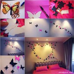 DIY Butterfly Wall Art Tutorial Add a splash of color to your room with these gorgeous butterfly wall art! This DIY project is super easy to make. Diy Wand, Butterfly Wall Decor, Butterfly Crafts, Butterfly Decorations, Butterfly Art, Butterfly Mobile, Butterfly Design, Fabric Butterfly, Butterfly Pattern