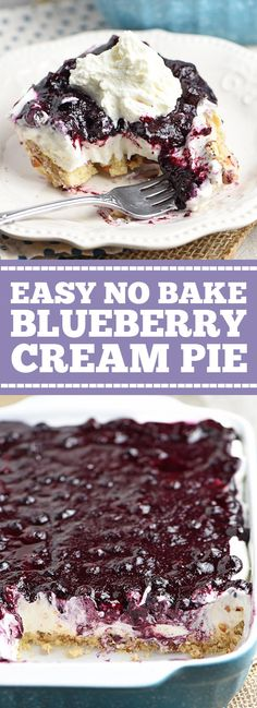 Irresistible, easy, no bake blueberry cream pie! Whip up dessert in no time with this recipe from scratch. Easy Blueberry Pie, Blueberry Cream Pies, Blueberry Desserts, Blueberry Picking, Blueberry Cobbler, No Bake Desserts, Easy Desserts, Dessert Recipes, Asian Desserts