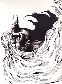 """The Batman""  Ink & colored pencil on Bristol, 2012  Batman belongs to DC Comics"
