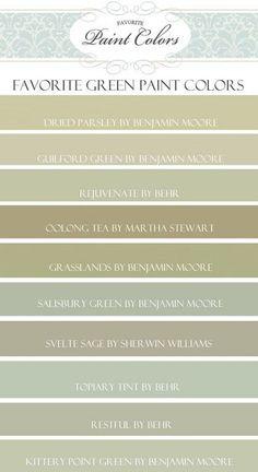 Green Paint Color Ideas. Benjamin Moore Dried Parsley.  Benjamin Moore Guilford Green.  Behr Rejuvenate. Martha Stewart Oolong Tea. Martha Stewart Grasslands.  Benjamin Moore Salisbury Green. Sherwin Williams Svelte Sage. Behr Topiary Tint. Behr Restful. Benjamin Moore Kittery Point Green. #GreenPaintColor: