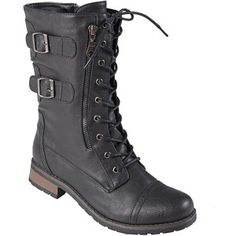 Journee Collection Women's Black Buckle Detail Lace-up Boots These fashionable mid-calf boots by Journee Collection feature a lace-up design with side zipper entry. Women's Lace Up Boots, Cute Boots, Tall Boots, Black Boots, Wedge Boots, Women's Boots, Mid Calf Boots, Fashion Boots, Fashion Outfits