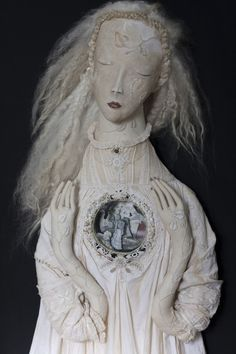 Soft Sculpture OOAK doll with paper cut diorama 'The Spirit' by Pantovola