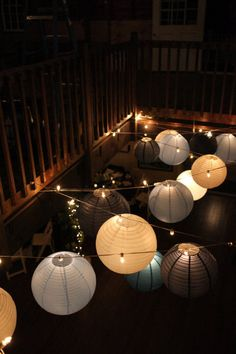 Hang different colored lanterns on string lighting to create great mood lighting at your next event. Shop both online at www.partylights.com!
