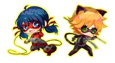 Ladybug and Chat Noir chibis! <333333