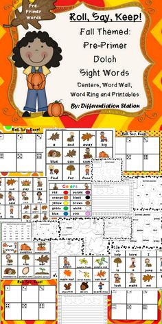 "Fall ""Roll, Say, Keep"" game, center, printables, word wall. Pre-Primer Dolch Sight Words.  Preschool, kindergarten, homeschool, special education instruction."