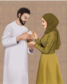 Sana y Hassan Girl Beach Pictures, Girly Pictures, Love Cartoon Couple, Cute Couple Art, Girly M, Cute Muslim Couples, Cute Couples, Hijab Drawing, Islam Marriage