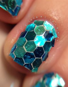 Holographic Hexagon Glitter Placement by glittertoes - Nail Art Gallery nailartgallery.nailsmag.com by Nails Magazine www.nailsmag.com #nailart