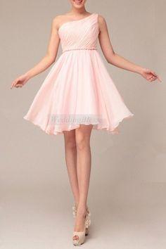 Blush Bridesmaid Dresses Chiffon A Line Short One by WeddingBless, $88.00