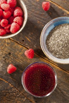 The Debloating Refresher You'll Want to Sip All Summer Long 2 cups water 2 teaspoons chia seeds 1/2 cup strawberries 1/2 cup raspberries 1 tablespoon fresh lime juice 1 tablespoon raw honey or agave