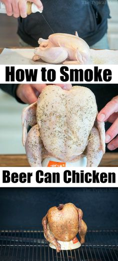 Smoked beer can chicken is so amazing! Whether you have a pellet or electric smoker you'll love how easy a whole chicken is to cook. Get ready! Traeger Recipes, Smoked Meat Recipes, Grilled Chicken Recipes, Grilled Meat, Grilling Recipes, Rib Recipes, Traeger Bbq, Dinner Recipes, Grilling Ideas