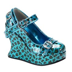 Blue Cheetah Print Mary Janes