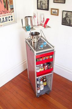 Airline galley cart, in service on land: 1970s-vintage galley cart from SAS Airlines, refurbished and repurposed. I want this.
