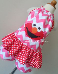 Exclusive Design Elmo Pink Chevron and Red polka dot pillowcase outfit with halter top and shorts. Perfect for baby toddler or little girls birthday party or Sesame Street live!