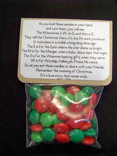 Christmas meaning as told by M and Ms! Great for Sunday school