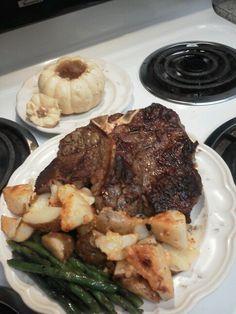 Porterhouse Steak, Roasted Potatoes w- Cheese & Garlic, Garlic Green Beans, & A Miniature Pumpkin w- Butter & Brown Sugar For Dessert! (-: