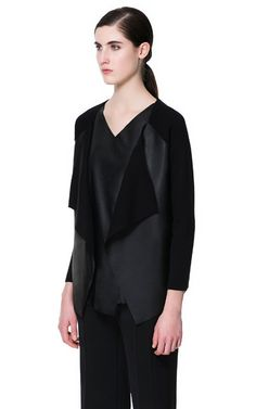 LEATHER FRONT CARDIGAN from Zara