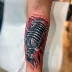 Microphone Tattoo With Red Background Tatto